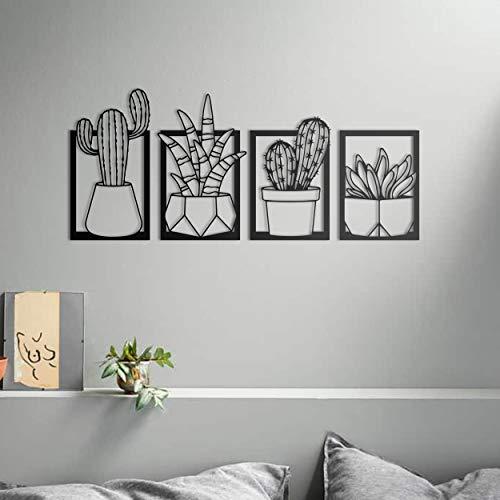 ikonika Juego de 4 piezas de arte de pared de metal, diseño de cactus