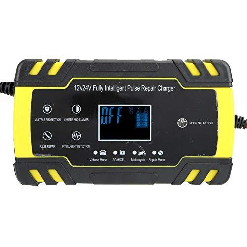 CUTULAMO Cargador de batería de Pulso de 12V / 24V Cargador de batería de Coche automático Inteligente con Pantalla LCD, para SUV de 12V 2AH-90AH, Motocicleta, Coche(Normativa Europea)