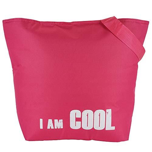 Roomando koeltas XL koelbox boodschappentas shopper thermotas grijs 51 cm x 38,5 cm x17 cm roze