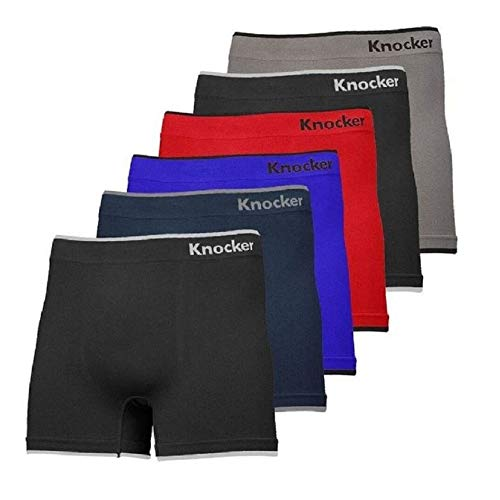 Mens 6pk Seamless Athletic Spandex Compression Sports Workout Boxer Brief Underwear Shorts OS Simple Knocker