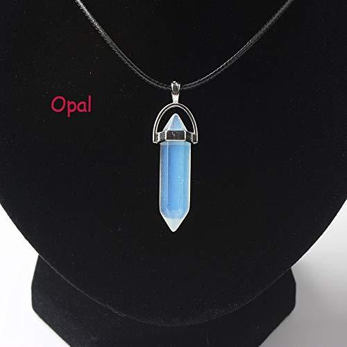 TFOOD Ketting voor dames, met etnische blauwe opaal en kristallen hanger, leer, charm, etnische sieraden voor moeder en mannen, cadeau