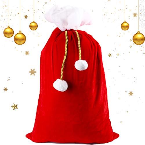 Sunshine smile Sacchi di Babbo,Sacchi di Natale,Sacco di Babbo Natale,Coulisse di Natale,Sacchi Natalizi in Velluto,Borsa di Babbo Natale,Babbo Natale Personalizzato,Borsa Regalo di Babbo Natale