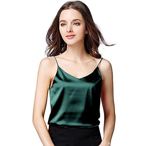 Damen Silk Camisole Bottom Bluse Shirt Weichen Frauen Sexy Satin Tank Top Crop (Grün,S