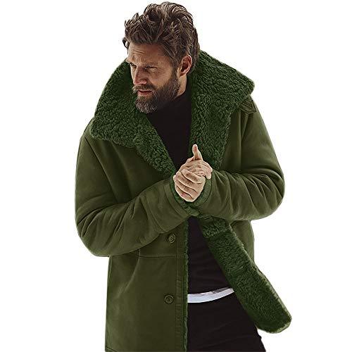 Aiserkly Herren Winterjacke Warme gefüttert Wintermantel Übergangsjacke Coat Jacken Mantel Trenchcoat Gefütterte Winterparka Armeegrün M