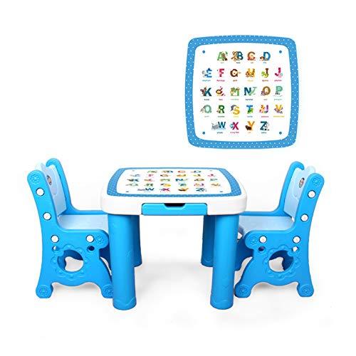 ZXIAQI Kindertischgruppe, Stuhllast 100kg, Kinder Aktivität Tischmöbel mit Schublade für Spielzimmer, Kindergarten, Zuhause Oder Draußen,Blue Letters