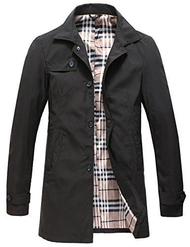 Pinkpum Hombre Chaqueta Algodón Abrigo para Primavera Otoño Invierno Casual Botones Coat Jacket (Negro 01, S)