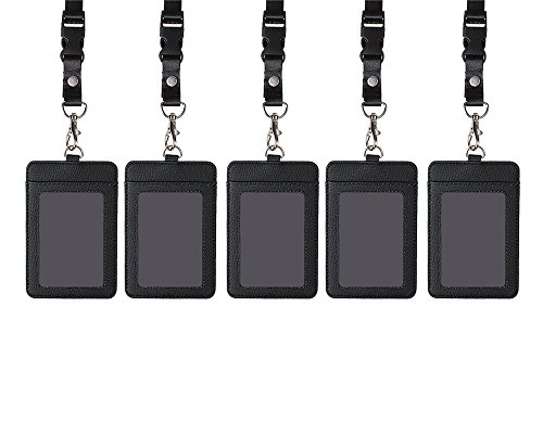 Shidan 5 Stück Vertikal PU Leder Geschäft Identification Badge Halter mit 1 ID Fenster und 1 Karte Slot und abnehmbar Hals Lanyard für Reisepass, Personalausweis und Namensschilder (5 Stück Schwarz)