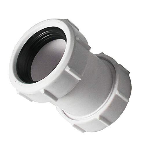SUPERTOOL Conector de compresión de 1/2 pulgadas 40 mm Conector de tubo recto de PVC para baño, fregadero de cocina, bandeja de ducha, sitio húmedo (1 unidad)