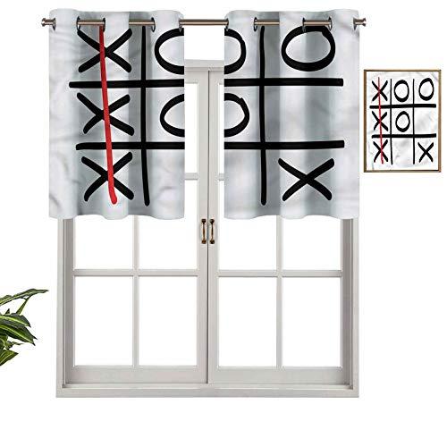 Hiiiman Cortinas para tratamientos de ventana con ojales en la parte superior, juego de 1 unidad, 106,7 x 45,7 cm, paneles opacos decorativos para cocina