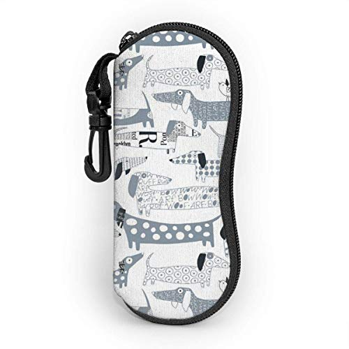 Sausage Dog Sunglasses Soft Case With Belt Clip,Light Soft Protective Neoprene Zipper Eyeglass Pouch,17cm×8cm