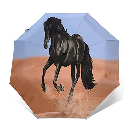 TISAGUER Paraguas automático de Apertura/Cierre,Animales Caballo Negro Caballos Pintura Cuadros,Paraguas pequeño Plegable a Prueba de Viento