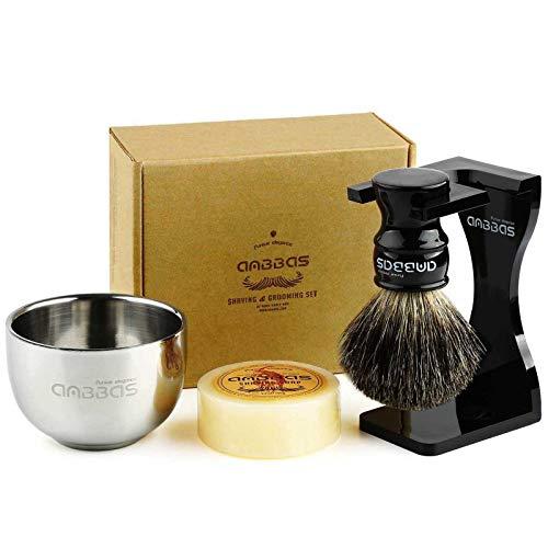 4in1 Shaving Set, Anbbas Black Badger Hair Shaving Brush Resin Handle and...