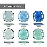 MamboCat Blue Baita 18-tlg. Teller-Set blau I robustes blaues Steingut-Geschirr für 6 Personen I je 6 flache Speiseteller - tiefe Suppenteller - kleine Kuchenteller I blaue Teller 18 Teile - 2
