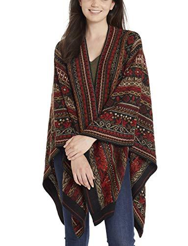 Invisible World Damen Alpaka Poncho – Ruana Cape aus 100% Alpaka Wolle für Herbst und Winter – Julia
