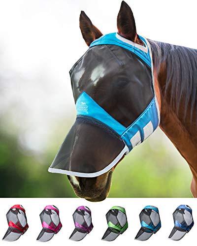 Harrison Howard CareMaster Pro Luminous Fliegenmaske UV-Schutz ohne Ohren mit Nasenschutz Dresden Blau Kaltblut (XL)