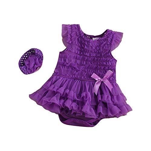 baybay Vestido de bebé recién nacido sin mangas para niña de encaje...