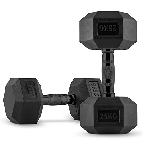 Capital Sports Hexbell - Kurzhantel, Kurzhantel-Set, Dumbbell, Zwei Kurzhanteln, 2 x 25kg, sechseckige Hantelköpfe, Hartgummi-Ummantelung, Cross-Trainig, Functional Training etc, schwarz