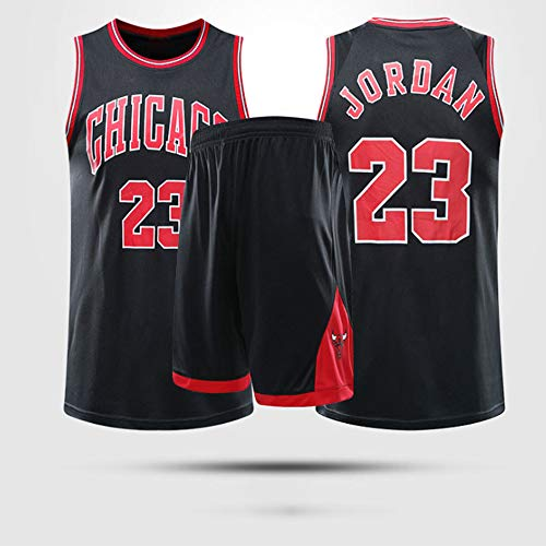 LYY Jerseys Men's, NBA Chicago Bulls # 23 Michael Jordan - Niño Uniformes De Baloncesto Adulto Classic Sports Sport Camisetas Y Cómodos Chalecos Tops Set,Negro,2XL(Child) 155~160CM