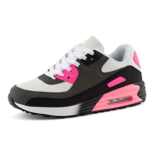 Fusskleidung Herren Damen Sportschuhe Dämpfung Neon Sneaker Laufschuhe Runners Gym Unisex Grau Schwarz Pink EU 37