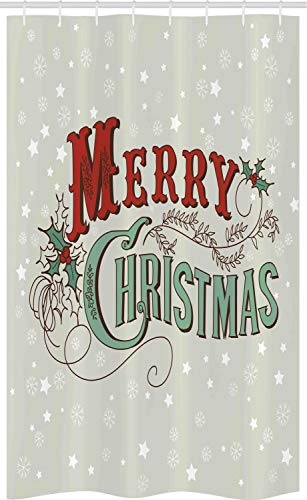 ABAKUHAUS Weihnachten Schmaler Duschvorhang, Stern-Schneeflocke Retro, Badezimmer Deko Set aus Stoff mit Haken, 120 x 180 cm, Rubin