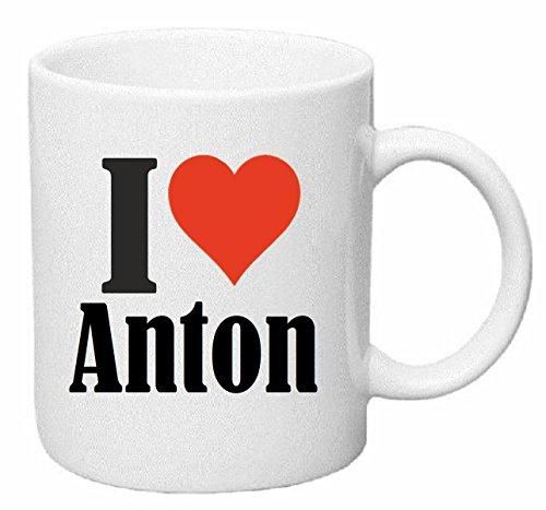 Reifen-Markt Kaffeetasse I Love Anton Keramik Höhe 9,5cm ? 8cm in Weiß