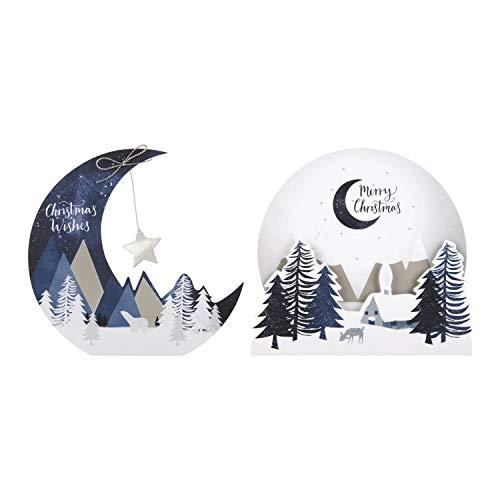 Hallmark - Tarjetas navideñas de escena de invierno hechas a mano (8 en 2 diseños)