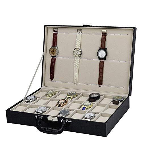 DXX-HR Watch Display Storage Box 24+12 Portable Watch Box High-Grade Crocodile Pattern PU Leather Watch Display Box (Color : White, Size : S) (Color : White)
