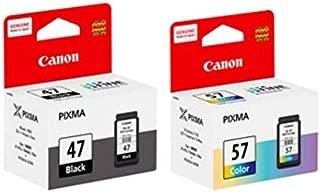 Canon Combo 47 and 57 Ink Cartridge [Set of 2] Compatible with Pixma E400 E410 E417 E460 E470 E477 E480 E3170 E3177 Printers
