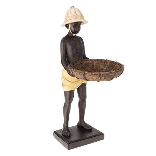 aubaho Skulptur Figur Statue Kellner mit Tablett Schale Visitenkarte Konfektschale