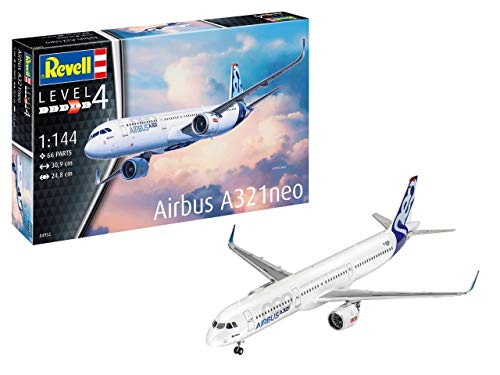 Revell REV-04952 Airbus A321 Neo, Flugzeugmodellbausatz 1:144, 30,9cm Modelmaking, unlackiert