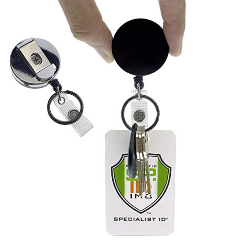 Heavy Duty All Metal Casing Retractable Badge & Key Reel with Thick Nylon Cord, Belt Clip, Reinforced ID Strap and Keychain by Specialist ID (Single Sold Individually)