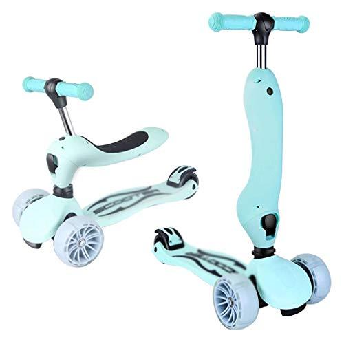 YLJJ Scooter para niños 3 en 1 con Asientos Plegables, Ruedas Brillantes extraíbles y Ajustables, para niños Mayores de 3 años, Azul