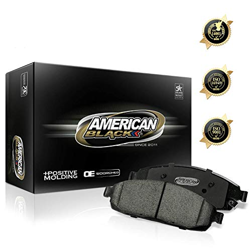 American Black ABD1077M Professional Semi-Metallic Rear Disc Brake Pad Set Compatible With Dodge Ram 1500 SRT10 / Ram 2500 / Ram 3500 & Others - OE Premium Quality - Perfect fit, Quiet and DUST FREE