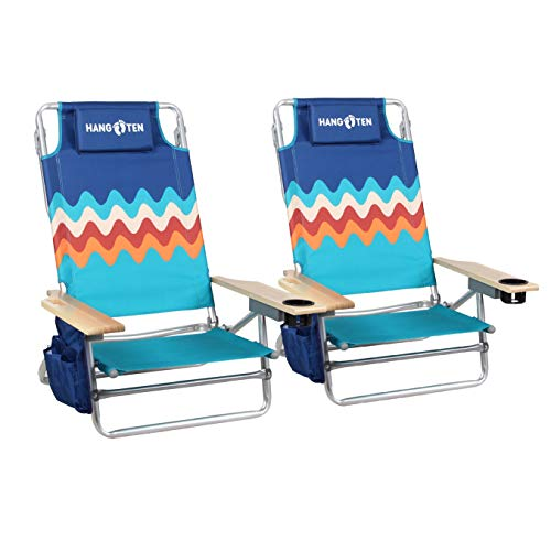 Hang Ten Beach Chairs Folding Lightweight (2-Pack) Backpack Camping Chair Folding 5-Position Layflat Portable Arm Chairs with Towel Bar, Supports 250 LBS