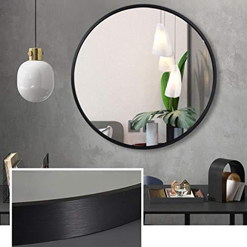 XQAQX Espejo de Baño Espejo Maquillaje Espejo de tocador Espejo de vanidad Decorativo con Marco de Aluminio Redondo Grande montado en la Pared for Sala de Estar Dormitorio (Color : Gray, Size : 80cm)