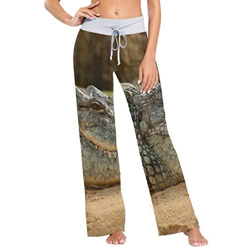FANTAZIO Pantalones de pijama de cocodrilo para mujer