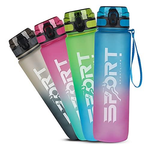 HASAGEI Trinkflasche 1L, Sport Wasserflasche Auslaufsicher, Fahrrad Wasserflasche, Trinkflasche BPA Frei Sportflasche mit Kapazitätsskala Farbverlauf für Die Fahrrad, Outdoor, Schule, Gym, Camping