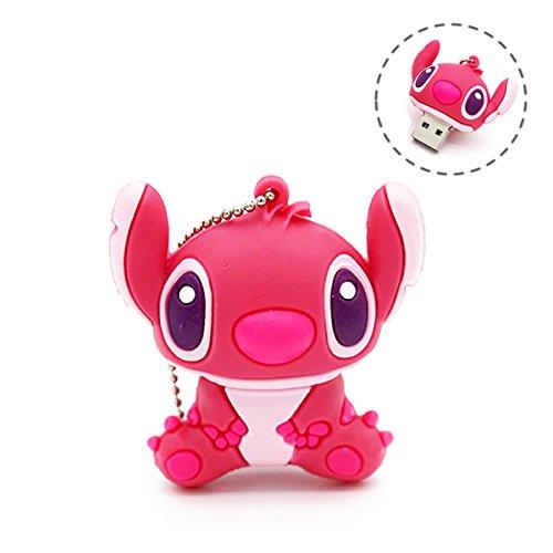 Novelty Stitch Pink Shape Design 32GB USB 2.0 Flash Drive Cute Memory Stick Stitch Thumb Drive Data Storage Pendrive Cartoon Jump Drive Gift (Stitch pink-32GB)