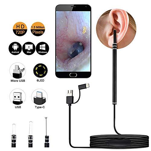 Canne-AFFC HD In-Ear-Reinigung Endoskope Löffel Mini-Kamera-Ohr-Picker Ohr-Wachs Entfernen von Visual Ohr Mund Nase Otoskop Stützandroide PC