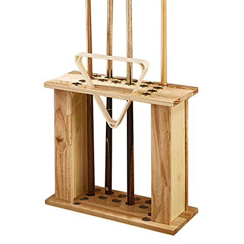 LMDX Billiard Stick Stand - Floor-Standing Pool Cue Rack, Solid Wood, Holds 16 Cue Sticks, 1 Tripod And More Billiard Table Accessories, Easy To Install, Snooker Cue Rack Holder