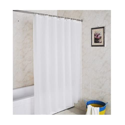 Shower Curtain White Fabric Water Repellent 180 Cm X 200 LeHom Mildew Resistant