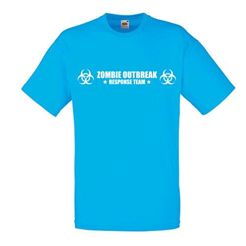N4519 Männer T-Shirt Zombie Outbreak Response Team (XX-Large Blau Weiß)