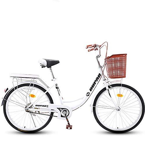 GOLDGOD Acero Carbono City Commuter Bicicleta 26 Pulgadas Comodidad Retro Bicicletas De Crucero con Repisa Trasera Y Cesta Cómodo Bicicleta De Ciudad, Frenos Dobles Delanteros Y Traseros