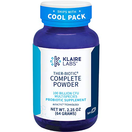 Klaire Labs Ther-Biotic Complete Probiotic Powder - 100 Billion CFU - Digestive, Gut Health + Immune Support - Probiotics for Men + Women - Dairy-Free, Hypoallergenic (60 Servings / 64g)