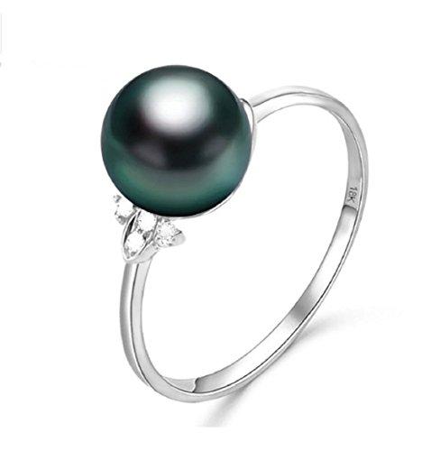 Gowe Vorschlag Ring 18K Gold Pearl Jewelry Ring mit Tahiti Perle schwarz