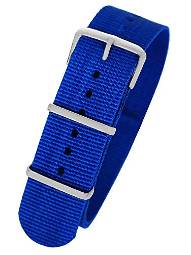 Pacific Time First Wechsel Armband Durchzugsband Uhrenarmband Ersatz Band Textil Dornschließe Sport Royalblau 10039