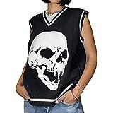 Women Girls Y2K Argyle Preppy Style Knit Sweater Tank Top Streetwear E-Girls 90s Plaid Sweater Vest Pullover (Loose Skull Black, L)