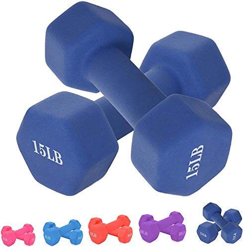 Lutss Neoprene Dumbbell Barbell Hand Weights 15 Pound for Warm Up&Women, Set of 2