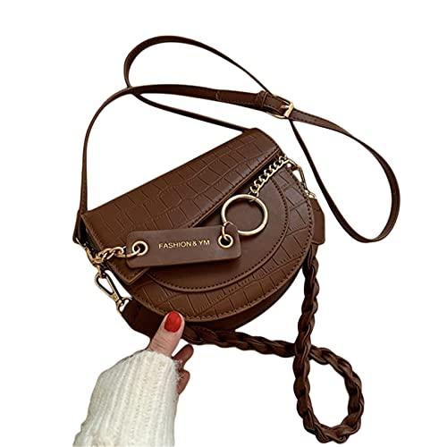 ZSDFW Bolsos cruzados con patrón de cocodrilo Bolsas de hombro de alta capacidad bolso retro negocios casual bolsa para mujeres niñas hombres cuero suave, marrón