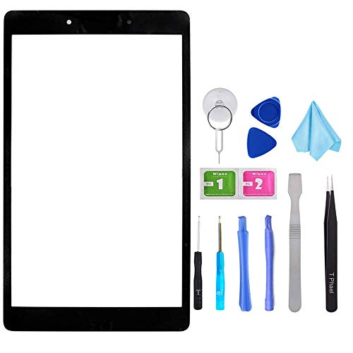 T Phael Black Outer Front Screen Glass Replacement for Samsung Galaxy Tab A 8.0 Wi-Fi 2019 SM-T290 T290 (NOT Include LCD and Touch digitizer)